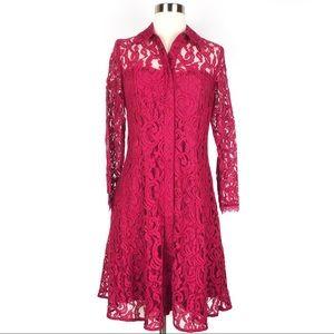 NANETTE LEPORE A line dress Pomegranate red lace